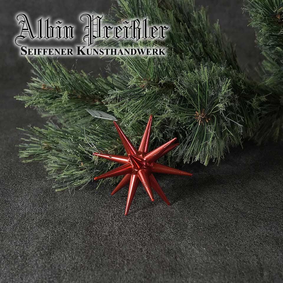 Albin Preissler【正規品】ベツレヘムの星 木製ポインセチアレッドメタリックSサイズ